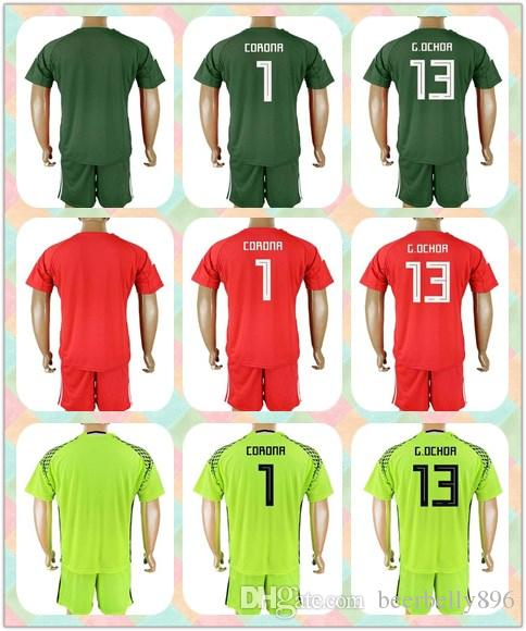 a1d2011cd ... goalkeeper soccer country jersey  customized uniforms kit 2018 world cup  country jersey mexico 1 corona 13 g. ochoa 10