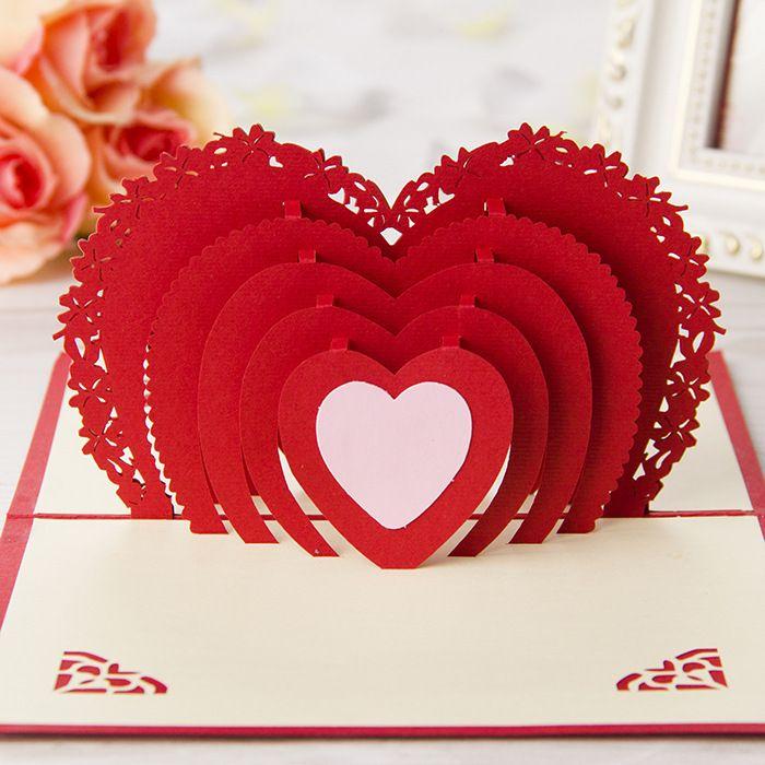 Red Heart Wedding Invitations 3d Handmade Cards Laser Cut Invitation ...