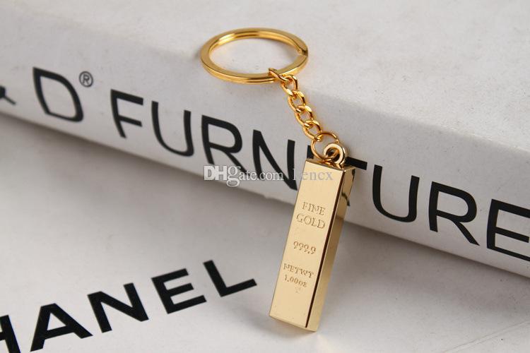 Nueva barra de oro Llavero de oro puro llaveros de oro llaveros mujeres encantos del bolso colgante buscador de llaves de metal de lujo hombre llaveros del coche accesorio