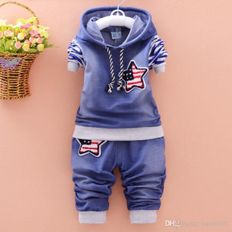 2018 Moda novo conjunto de roupas de menino de algodão de mangas compridas denim jaqueta + calça roupas de bebê 2 peças de pano roupa do bebê terno