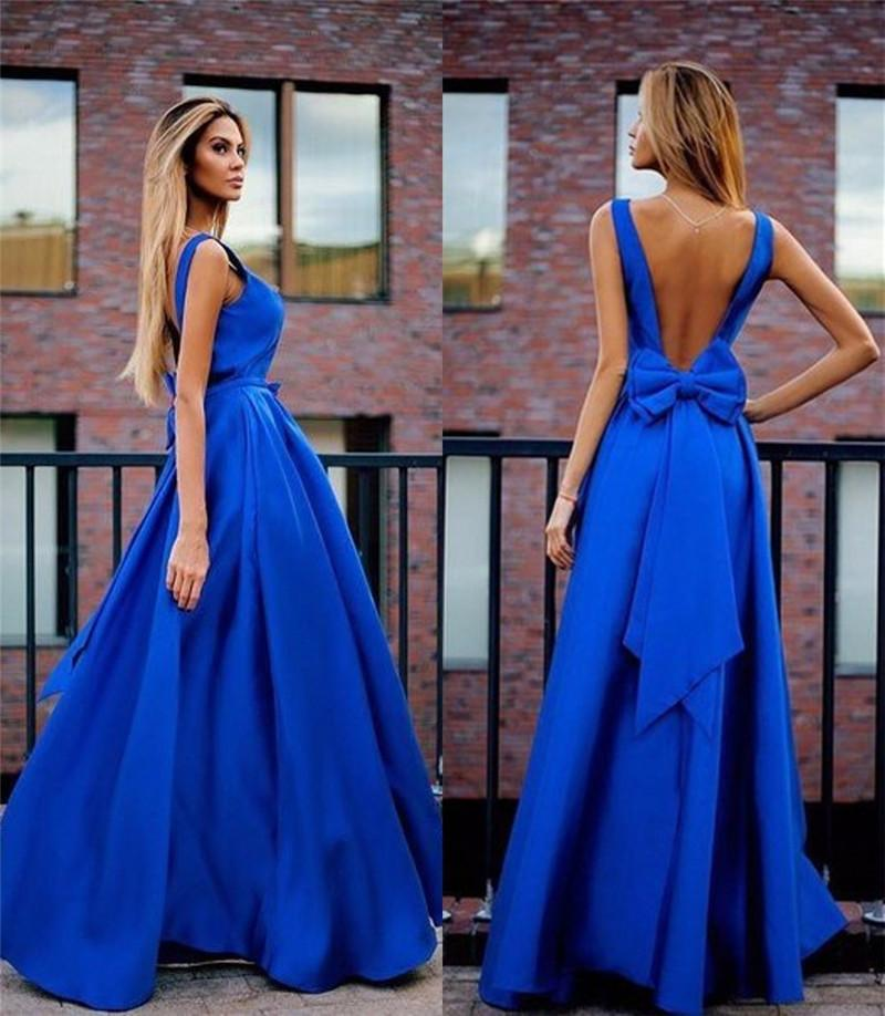 2016 Royal Blue Elegant Backless Prom Dresses A Line Scoop Bow Back ...