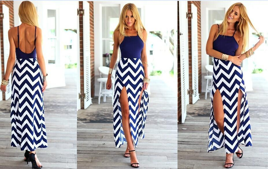224d3f6cbbf8 Wave Striped Long Summer Dress Female Sexy Back Cut Out Long Maxi Evening  Party Dress Vintage Wave Striped Long Furcal Dress Petite Cocktail Dresses  Red ...