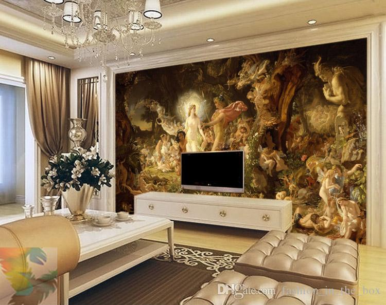Classical oil painting wall murals custom 3d wallpaper for 3d wallpaper for bedroom walls