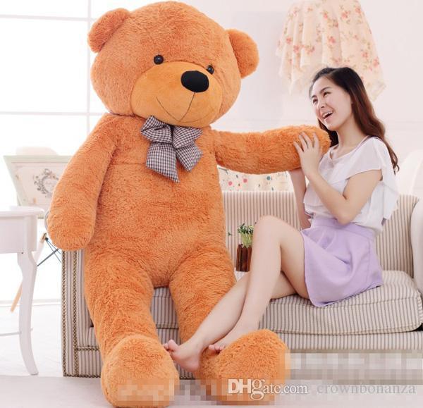 "TEDDY BEAR STUFFED LIGHT BROWN GIANT JUMBO 72"" size:160cm birthday gift Right-angle measurements Plush SOFT toys"