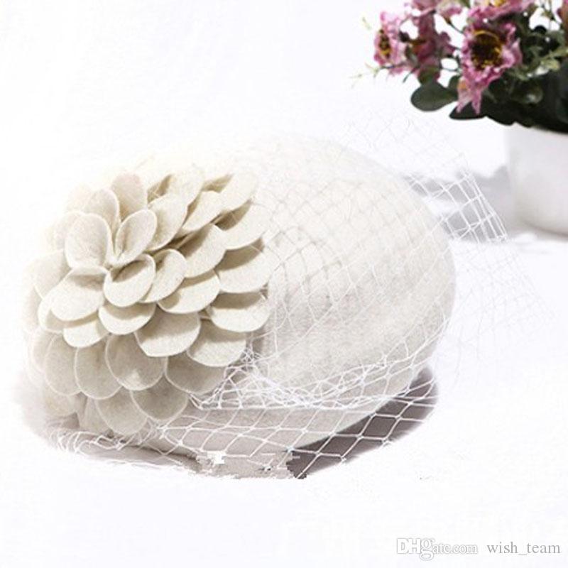 Iglesia de la boda clásica pelo Fascinator pastillero sombrero de la flor Negro Simplicidad señora de las mujeres cóctel sentían los artículos de Fedora del sombrero de copa de la horquilla