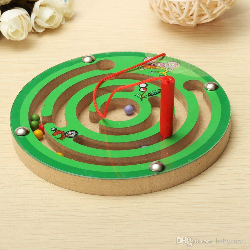 New Arrival Children Round Wooden Puzzle Magnet Beads Slot Maze Board Game Educational Toys Learning Intelligence Game For Kids