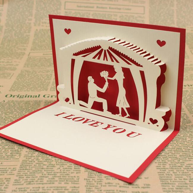 3d handmade card for wedding invitations figure kirigami origami
