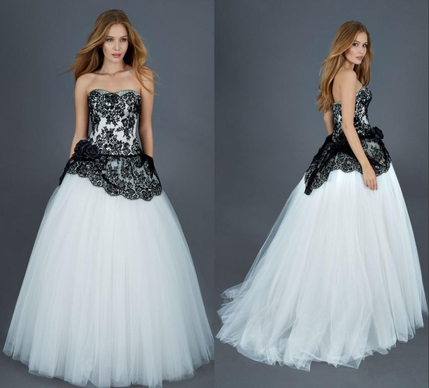 Discount 2016 Designer Black And White Wedding Gown Vintage Princess ...