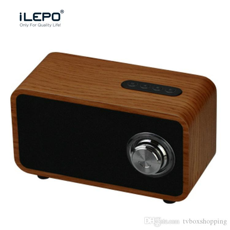 iLEPO i9 Wooden Bluetooth Speaker Super Bass Subwoofer Wireless Mini Speakers Stereo Music Box TF MP3 Aux With Retail Package VS Charge 3