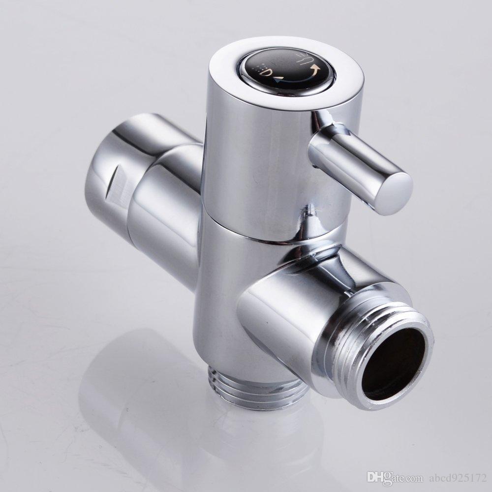 الشحن مجانا الصلبة النحاس 3-Way دش ذراع كلبشة صمام لمكونات الاستحمام handshower العالمي ، الكروم المصقول
