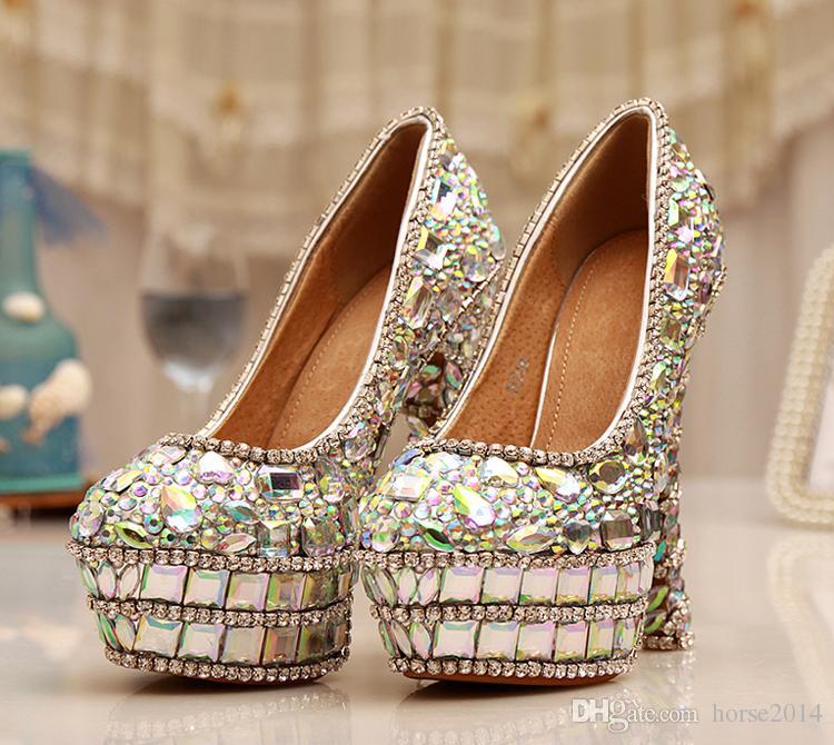 Moda AB Sapatos de Salto Alto Plataforma de Diamante de Cristal Sapatos De Noiva Sapatos de Casamento Bela Senhora Espumante Prom Party Shoes Mãe de Sapatos de Noiva