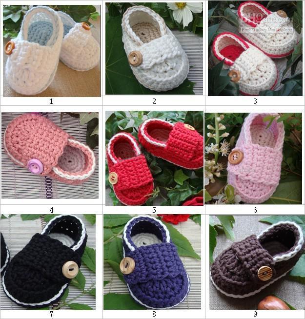 Мода ручной младенческой крючком детские мокасины первый ходунки обувь деревянная кнопка 0-12 М 14 пар / лот хлопчатобумажная пряжа