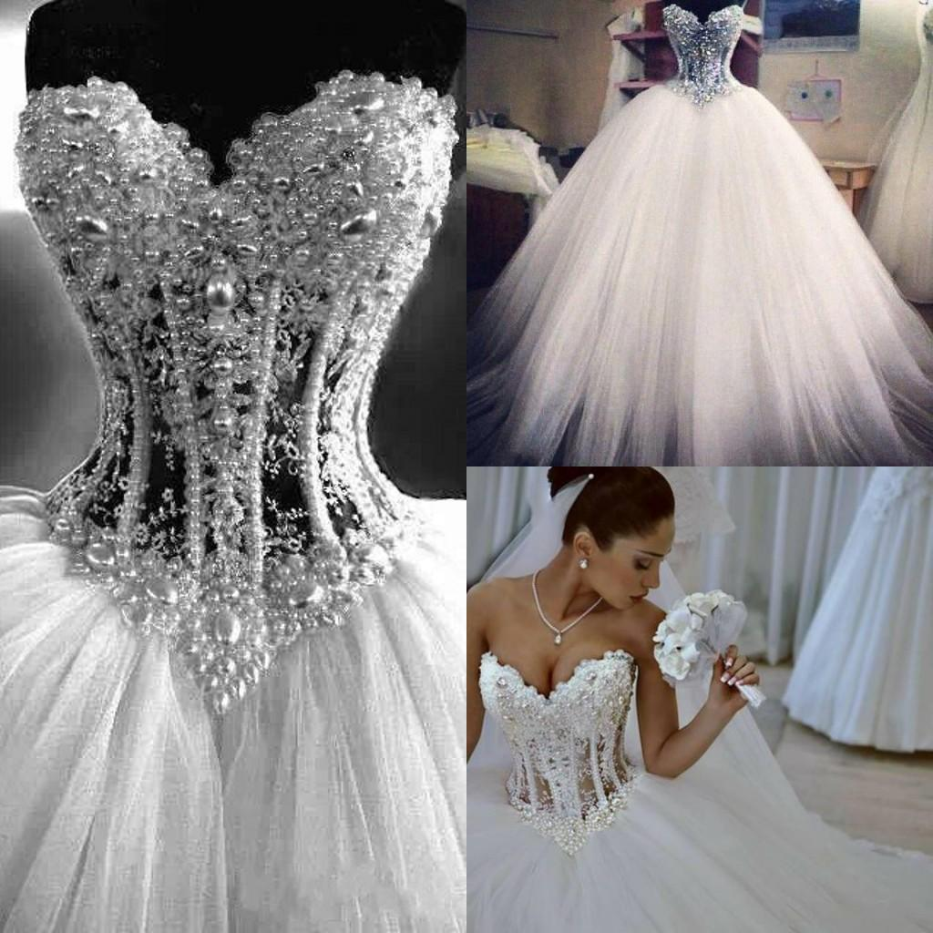 Real Picture 2016 White Ball Gown Wedding Dresses Sweetheart See Through Top Tulle Corset Pearls Princess Bridal Gowns Vestido De Noiva 2015