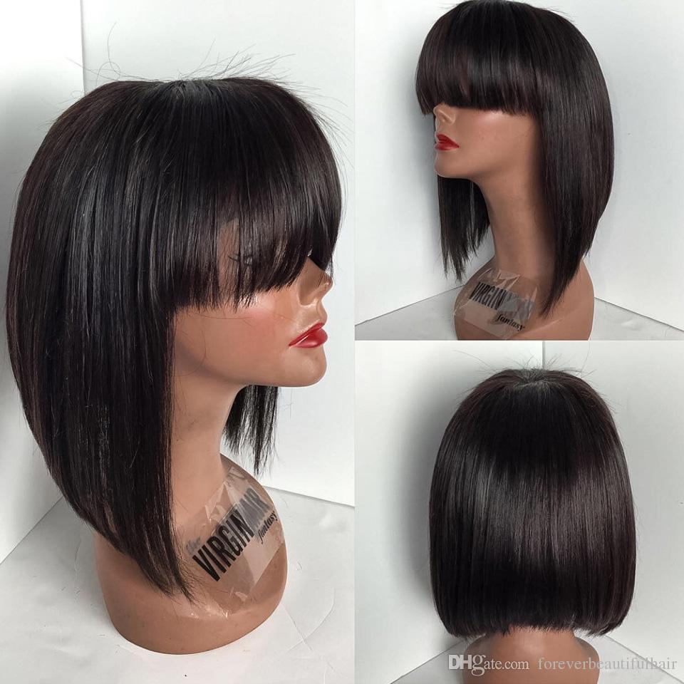 bob cut style glueless full lace wig with bang 130% density layered bob lace front wig natural color human hair