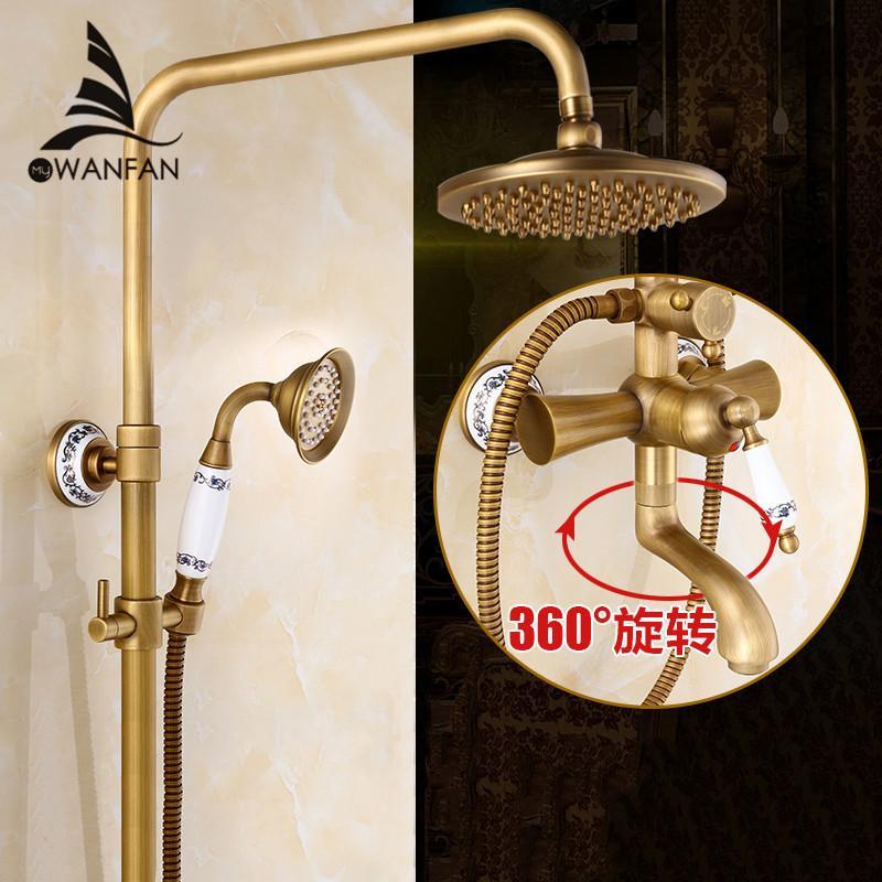 Best Shower Faucets Bath Shower Sets Antique Brass Finish Bathroom ...