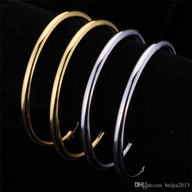 Big Size Style Large Hoop Earrings For Women Fashion 18K Real Gold Plated Basketball Wives Simple High Quality Jewelry E6391