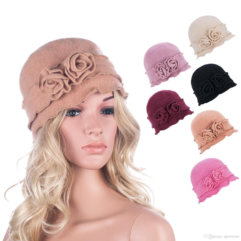 d1da347f10f 2019 Womens Gatsby 1920s Flapper Girl Winter Warm Wool Cap Beret Beanie  Crochet Bucket Floral Hat A285 From Spowwow
