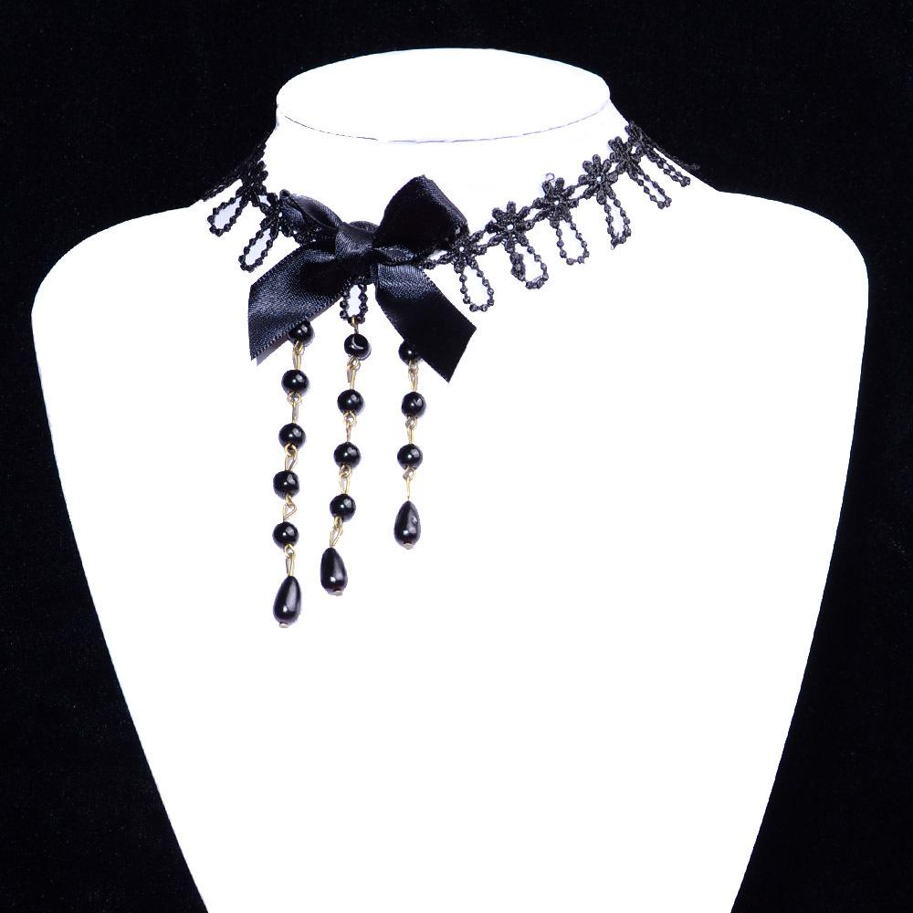 Statement Necklace Gothic Jewelry Lace Chokers Lace Pearl Necklaces For Women Girls Collar Necklace