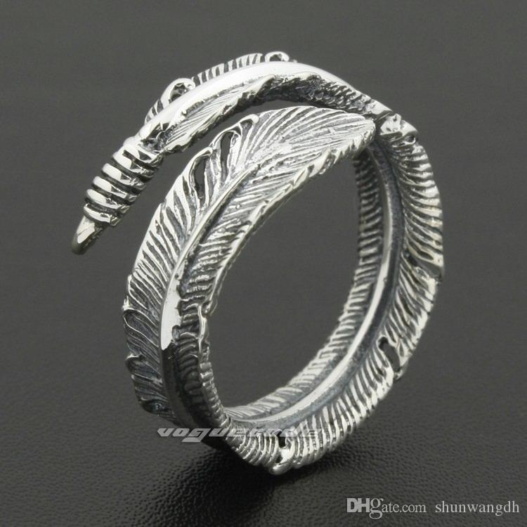 Size Adjustable 925 Sterling Silver Feather Mens Rocker Ring 8S012A US 7.5~10.5