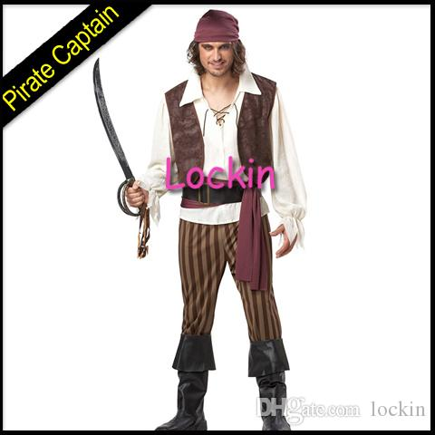 2015 new factory price halloween costume captain jack sparrow for man suit pirates caribbean performing clothes high quality freeshipping - Jack Sparrow Halloween Costumes