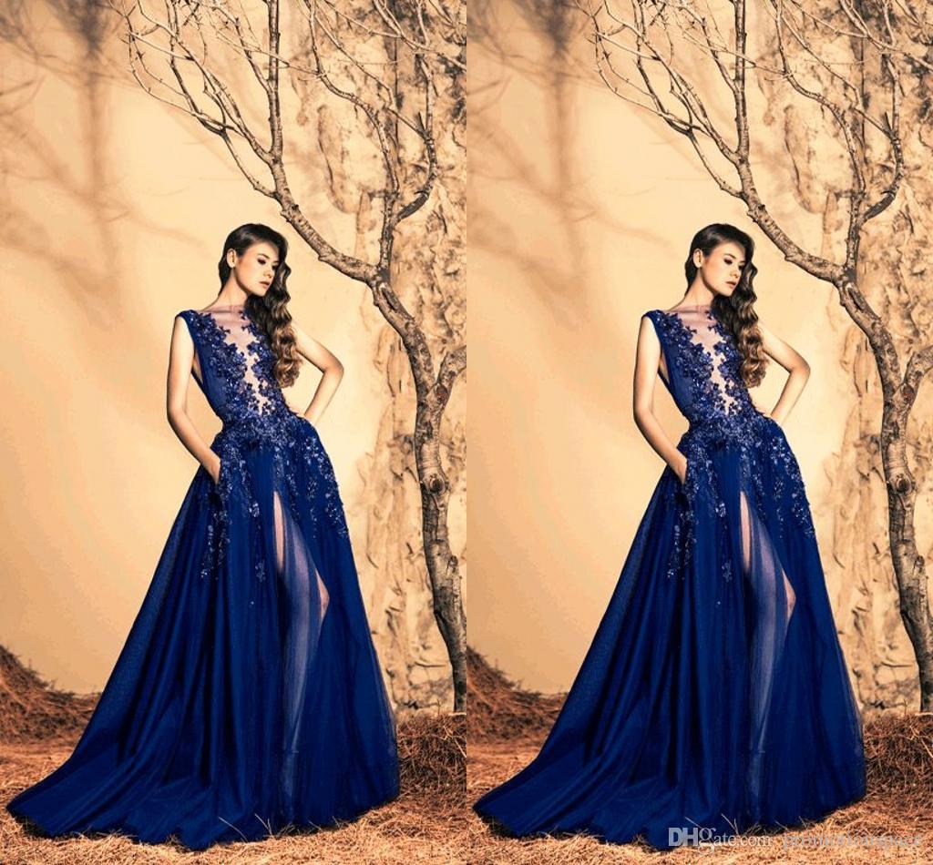 Vestidos de noche de lujo Zuhair Murad 2016 Sheer Neck High Side Slit Vestido largo de fiesta Vestido de fiesta formal de lentejuelas de cristal