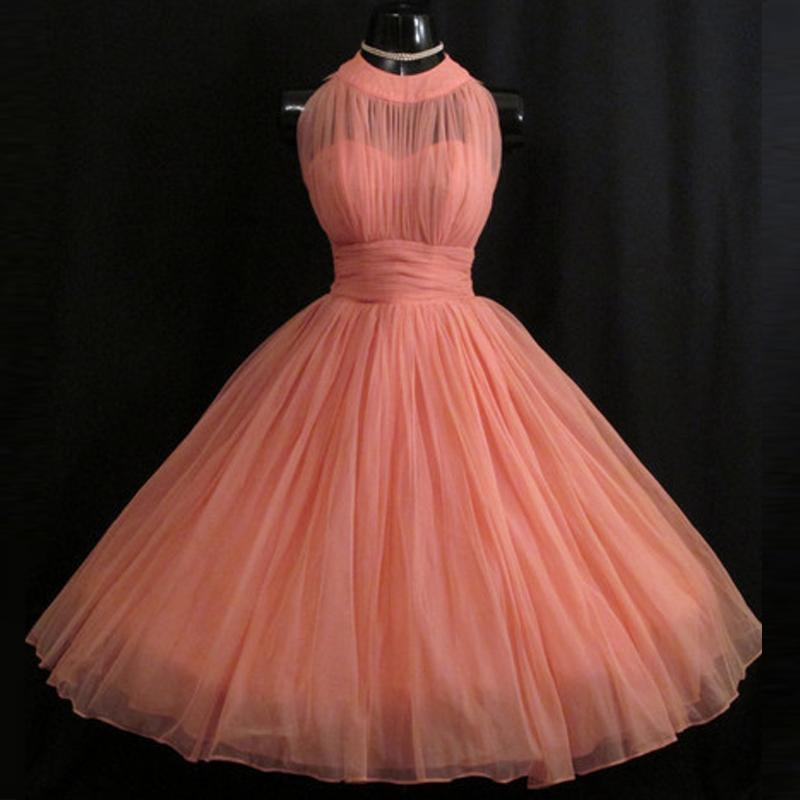 1950s Retro Chiffon Prom Dresses Real Photo Ruched High ...