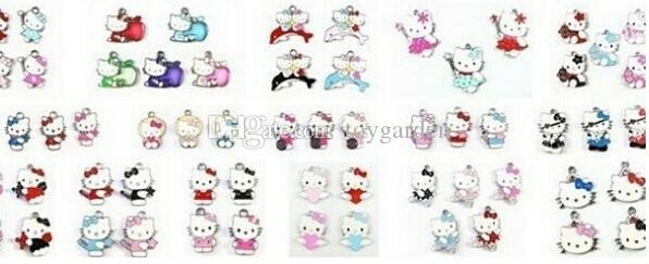 wholesale Hot Sale Hello Kitty Mix style zinc alloy metal enamel charms metal enamel pendant