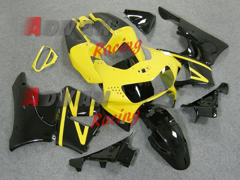 2014 Hot noir Jaune ABS Carénage Kit carrosserie plastique Set CBR900RR 1998-1999 002