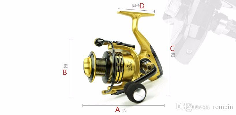 Moulinet de pêche en métal à carpe filature EVA Poignée de moulinet à pêche 3 couleurs série 1000-7000 Roue en métal Gapless