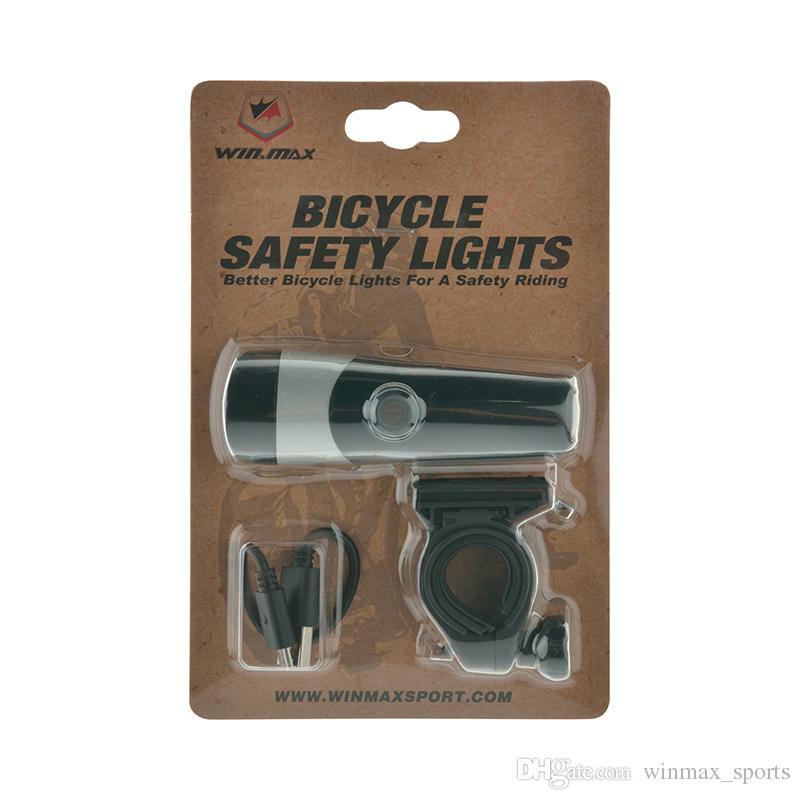 Winmax Bike Lights USB ricaricabile Impermeabile Testa luci 3 Watt LED bianco Facile da montare Ciclismo Luci Accessori biciclette