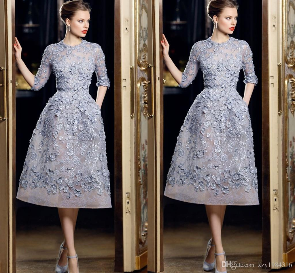 Hot Sale Half Sleeve Short Party Dresses 3D Floral Appliques with Beading Pearls Party Dresses for Women Organza Ellie Saab Formal Dresses