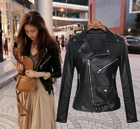 Hot Sale Street Style Ladies Slim Fit Soft PU Leather Jackets ...