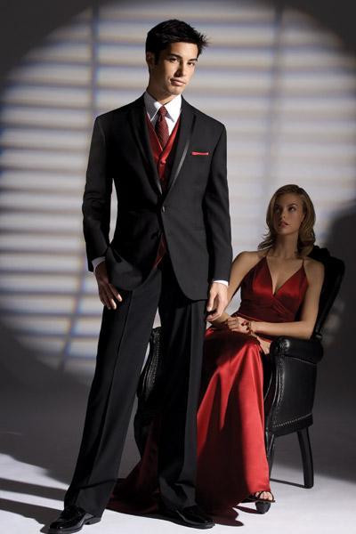 Custom Made Black Suit Red Vest Groom Tuxedos Best Man Groomsmen ...