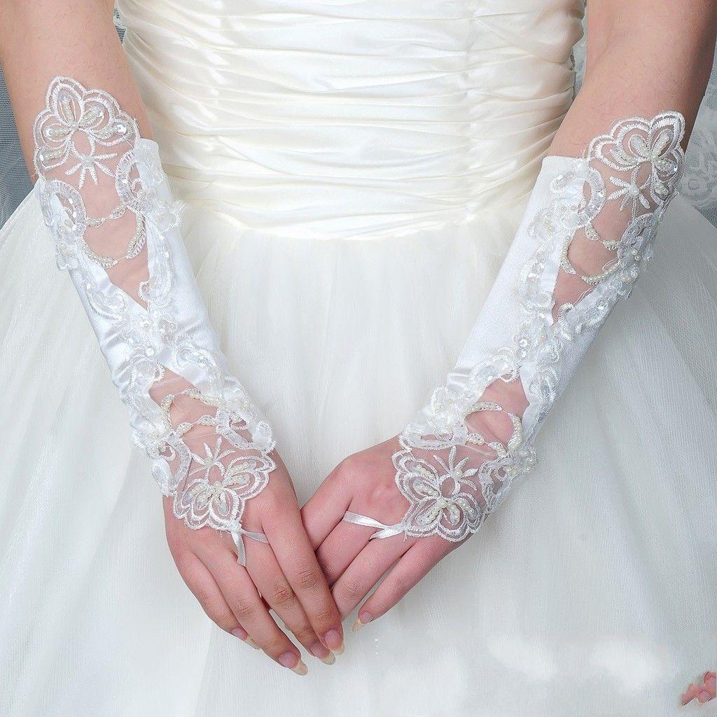 2016 Frete Grátis Barato Longo Abaixo do Cotovelo Comprimento Luvas Para a noiva Preto Vermelho Dedo Rendas Pérola Beads Acessórios Do Casamento Luvas de Noiva