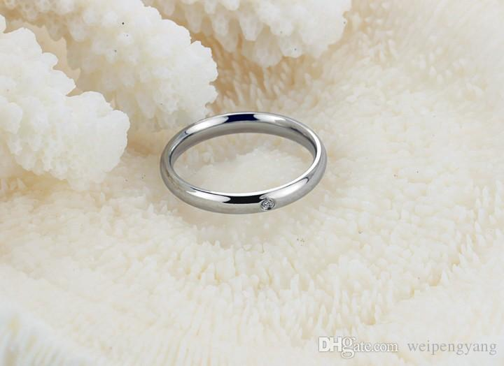 South Korea edition of the new jewelry Exquisite crystal diamond smooth titanium steel rings for women