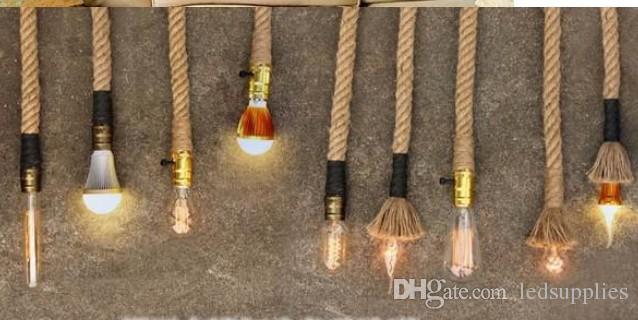 2 kafa kolye E27 25 MM 2 metre Kenevir halat avize Loft Özel Edison Vintage stil droplight tavan lambası