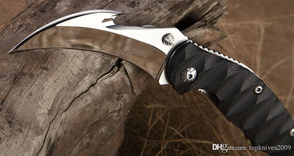 Freies verschiffen Neue TwoSun Messer Spiegel 420J2 Haken Cut Klinge Karambit Outdoor Jagd Klapp Tasche Klaue G-10 Griff Messer TSMB