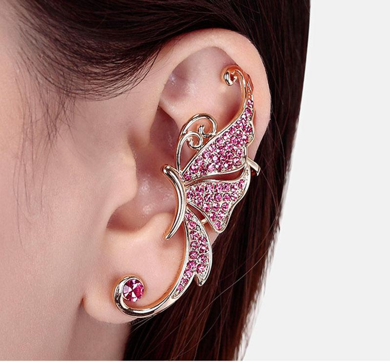 designer earrings Full of diamond earrings butterfly earring elf Cuff No pierced ear clip ear hanging fashion jewelry earring ear cuff 17013
