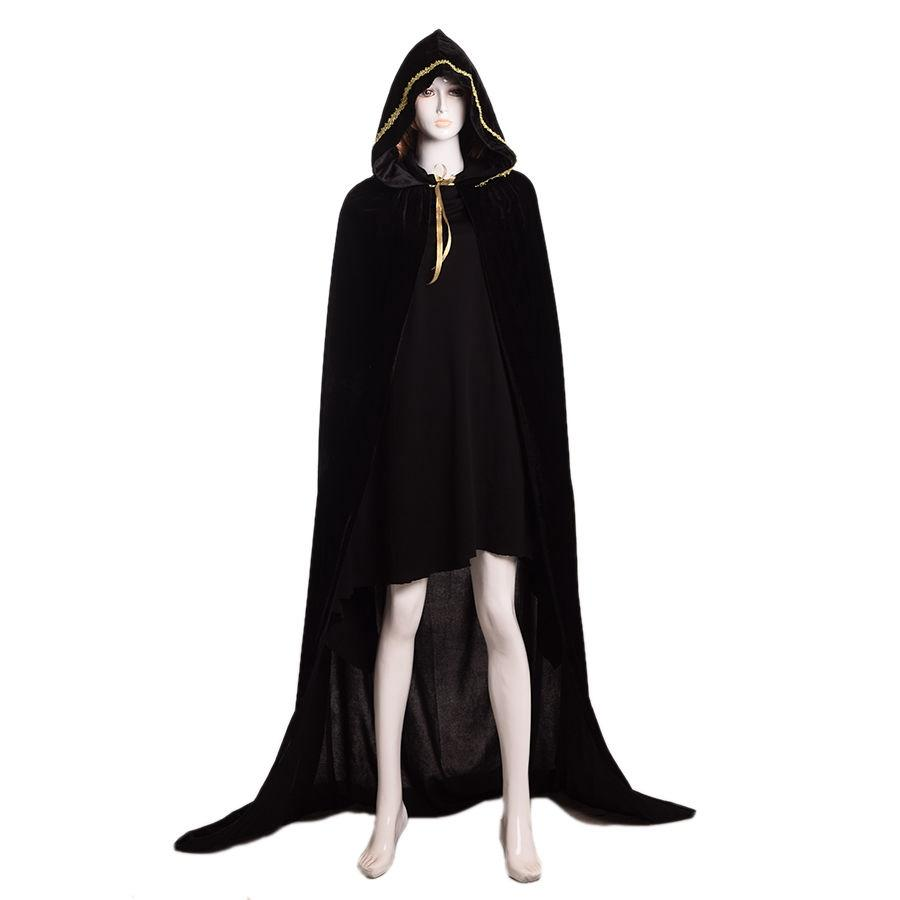 New Unisex Black Red Medieval Hooded Cloak Vampire Witch Wizard ...