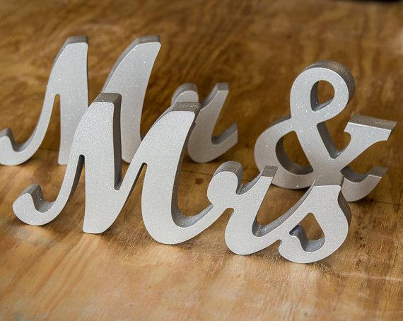 Mr And Mrs Large Wooden Letters: Mr And Mrs Wedding Signs For Sweetheart Table Decor Wooden