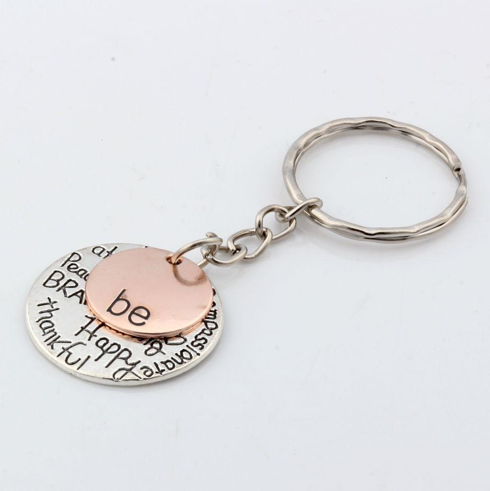 "MIC 30pcs DIY Accessories Material Zinc Alloy ""Be"" Graffiti Happy Strong Thankfull Charm Band Chain key Ring"