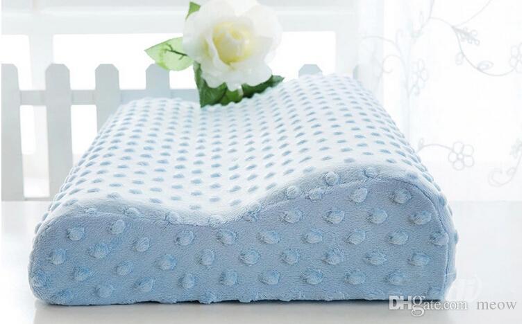 Memory Foam Pillow Super Soft Slow Spring Back Rebound Cervical Health Care Neck Pain Slow Rebound Wave Pillow With Velvet Pillow Case