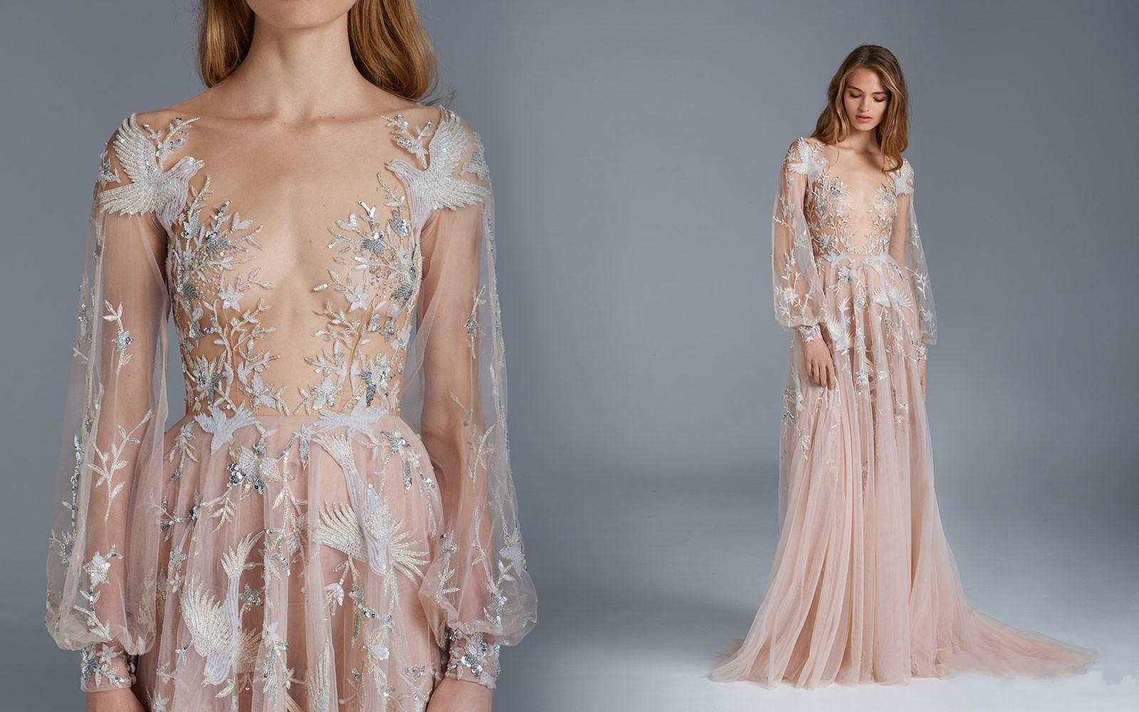 8026c34dd80b1 Paolo Sebastian 2015 Prom Dresses Sexy See Through Long Sleeves A Line Tulle  Flower Bird Appliques Formal Dress Celebrity Dress For Red Carp Dylan Prom  ...