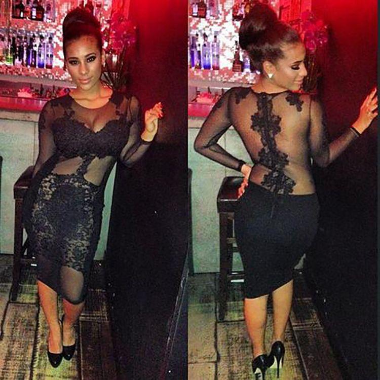 2016 Sheath Lace Casual Dreses Cheap Modest Club Dress Sheer Crew