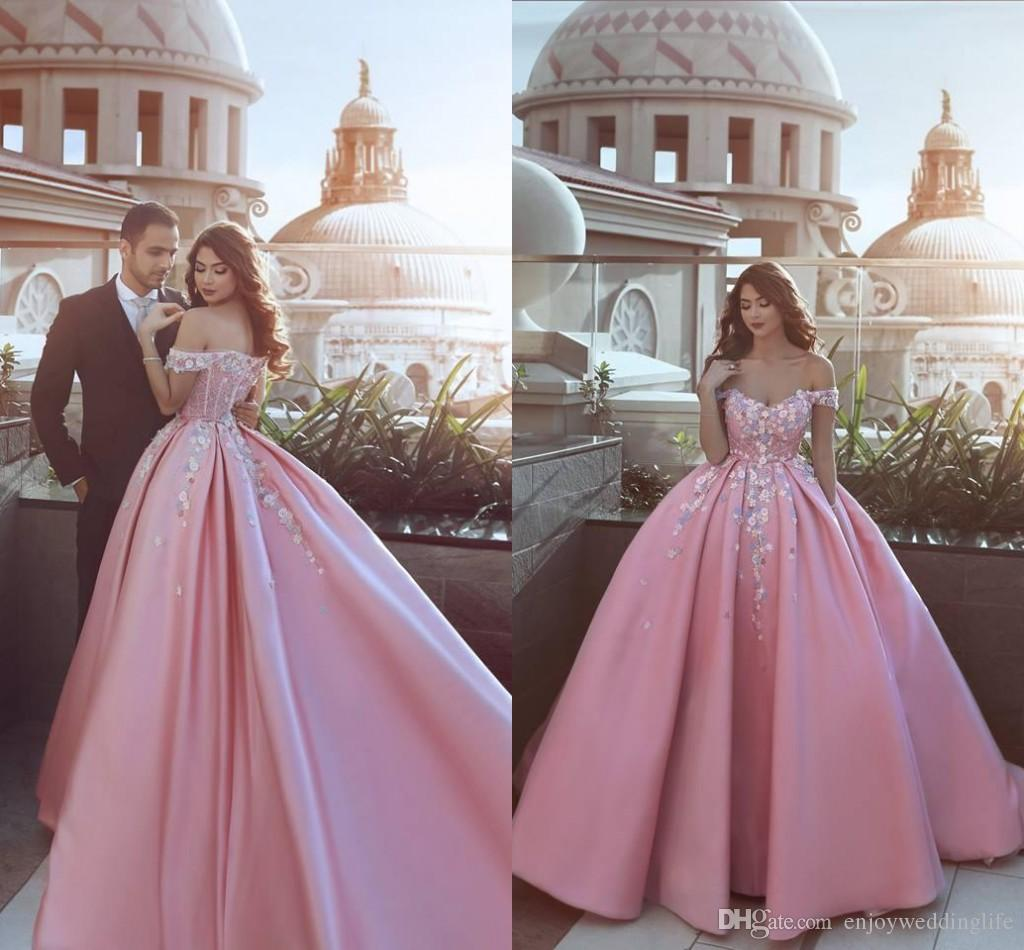 cd68203c637 2018 Said Mhamad Pink Off Shoulders A Line Satin Prom Dresses With Little  Flowers Appliqued Beading Formal Evening Gowns Zipper Back The Winner Prom  Dresses ...