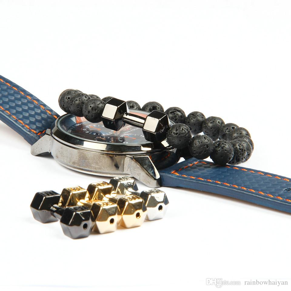 Mens Gift Wholesale New Arrival Alloy Metal Lava Rock Stone Beads Fitness Fashion Dumbbell Bracelets With Words