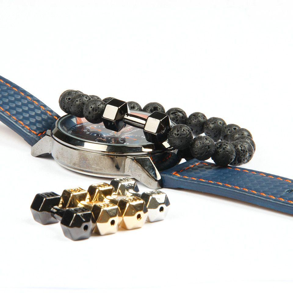 Mens regalo al por mayor nueva llegada pulseras de moda con mancuernas metal roca de lava bolas de piedra aptitud aleación con Palabras