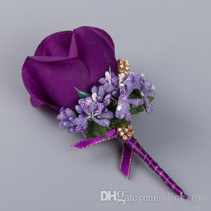 Artificial Flower Wedding Bridal Bouquets Beads Bridesmaid Groomsman Corsage Lavender Red Pink Purple White Blue Champagne Flowers