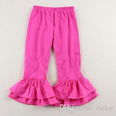 Rojo verde Color sólido Ruffle pants para Baby toddler Girl Double Ruffles Flare Pants Fancy Flare Pants