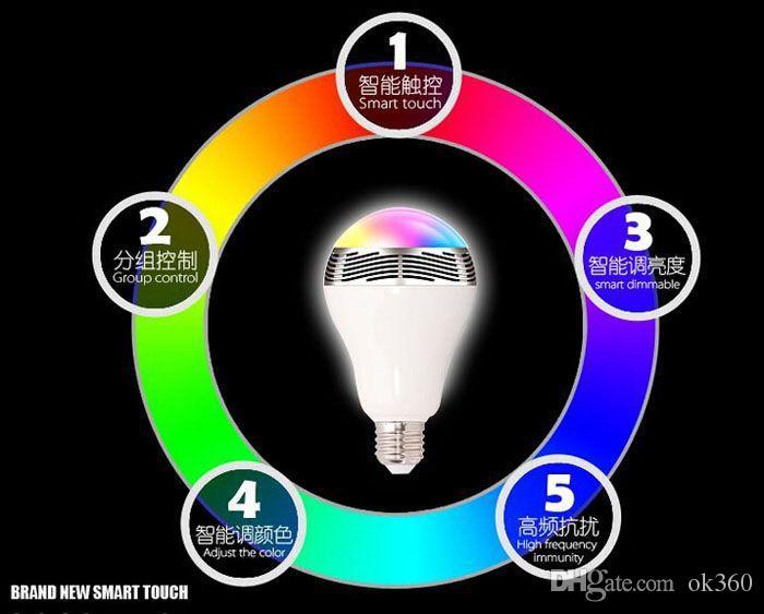 Sem fio 6W Power LED Bluetooth Speaker Luz esperta Bulb 4.0 inteligente lâmpada RGB iluminação com controladas celular AC85-265 Bulb para Smartphones
